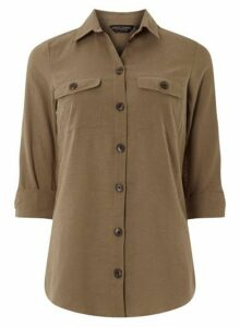 Womens Khaki Safari Shirt With Linen- Khaki, Khaki