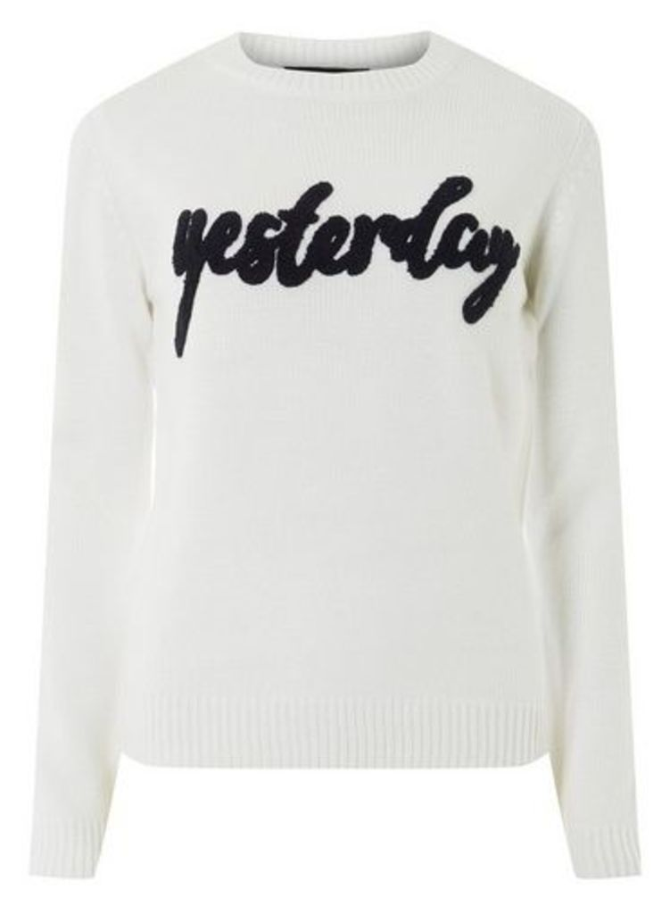 Womens White 'Yesterday' Slogan Jumper- White, White