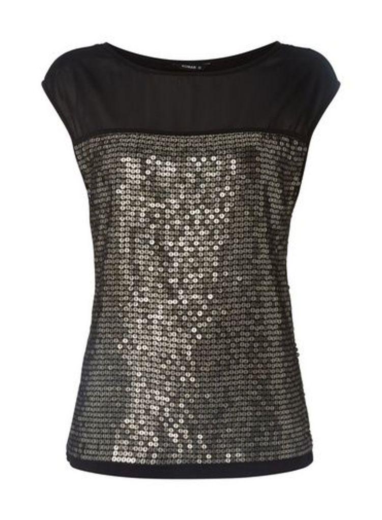 Womens *Roman Originals Black Sequin Front Top- Black, Black