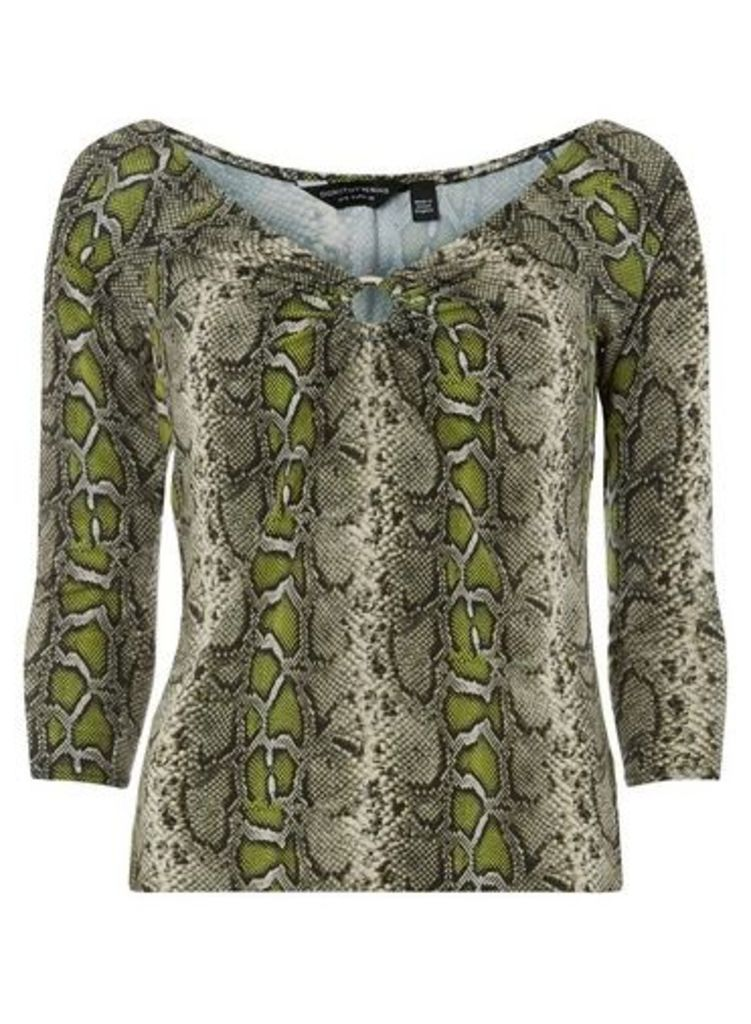 Womens Green Snake Print Ring Front Top- Green, Green
