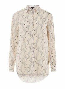 Womens Blush Bird Print Longline Shirt- Pink, Pink