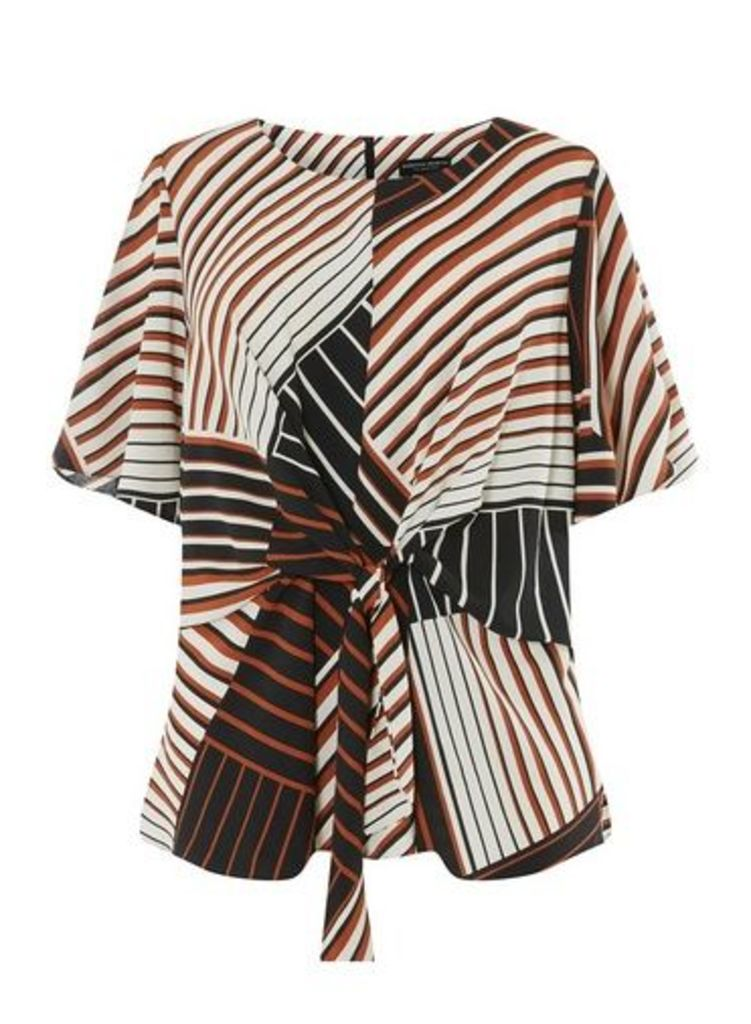 Womens **Dp Curve Multi Coloured Stripe Print Manipulated Top- Ivory, Ivory