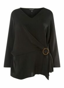 Womens **Dp Curve Black Horn Buckle Wrap Top- Black, Black
