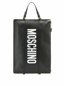Moschino logo print clutch - Black