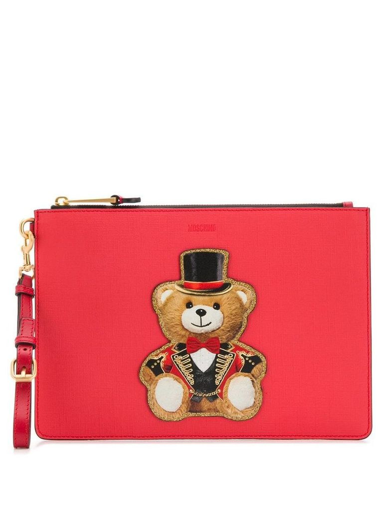 Moschino teddy print clutch bag - Red