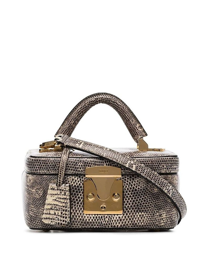Stalvey taupe lizard skin box bag - Neutrals