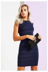 Womens Mela London Textured Stripe Bodycon Dress -  Blue