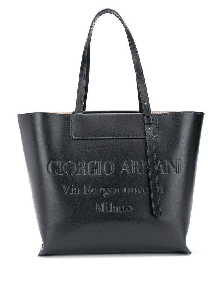 Giorgio Armani embossed logo tote - Black