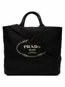 Prada Black Gardener large cotton tote