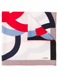 Chanel Pre-Owned CC flower print scarf - White