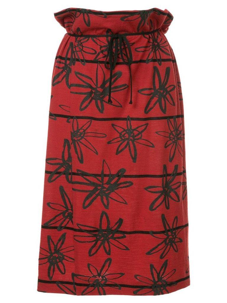 Comme Des Garçons Vintage rubber flower skirt - Red