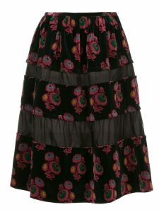 Comme Des Garçons Pre-Owned floral velvet skirt - Black