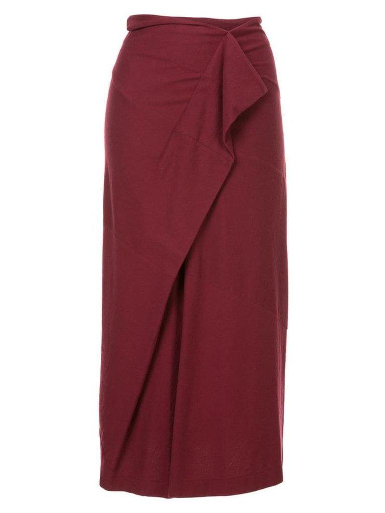 Comme Des Garçons Vintage draped midi skirt - Red