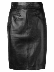 ALAÏA PRE-OWNED 1980 leather pencil skirt - Black