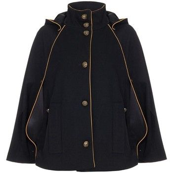 Anastasia  - Black Womens Hooded Cape  women's Coat in Black