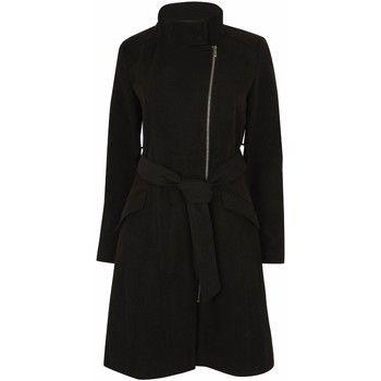 Anastasia  Womens Black Zip Belted Winter Coat  women's Trench Coat in Black