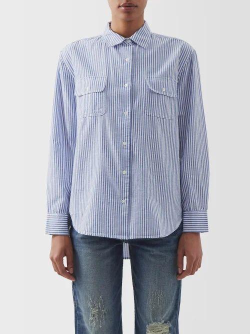 Ganni - Scarf Print Cotton Hair Scrunchie - Womens - Red