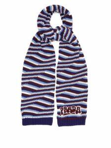 Prada - Intarsia Logo Striped Cashmere Scarf - Womens - Blue