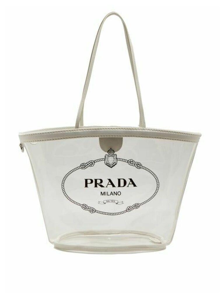 Prada - Logo Print Plexi Tote - Womens - White