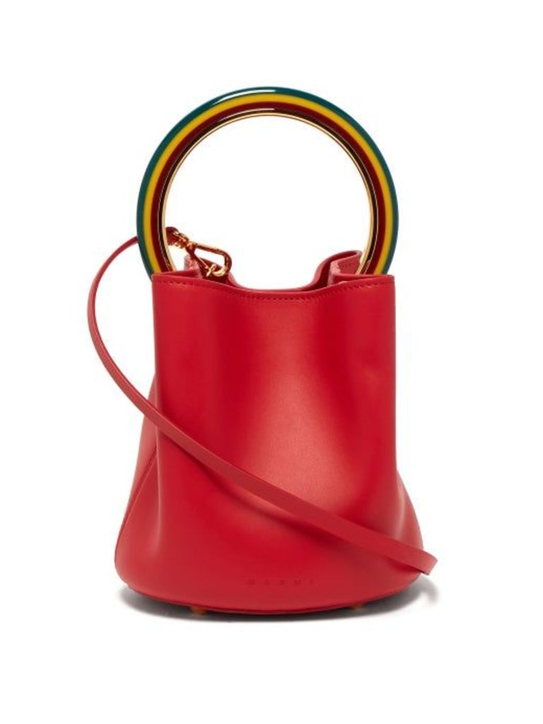 Marni - Pannier Leather Bucket Bag - Womens - Red Multi