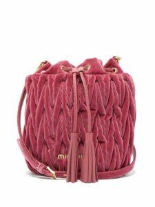 Miu Miu - Matelassé Quilted Velvet Bucket Bag - Womens - Pink