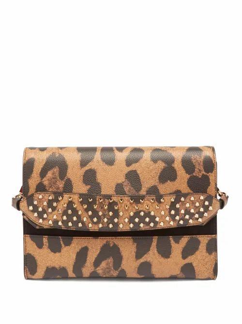 Christian Louboutin - Loubiblues Leopard Print Leather Clutch Bag - Womens - Leopard