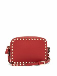 Valentino - Rockstud Camera Leather Cross Body Bag - Womens - Red