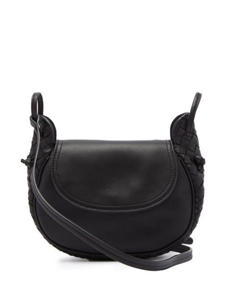 Bottega Veneta - Nodini Intrecciato Leather Cross Body Bag - Womens - Black