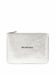 Balenciaga - Metallic Leather Logo Pouch - Womens - Silver