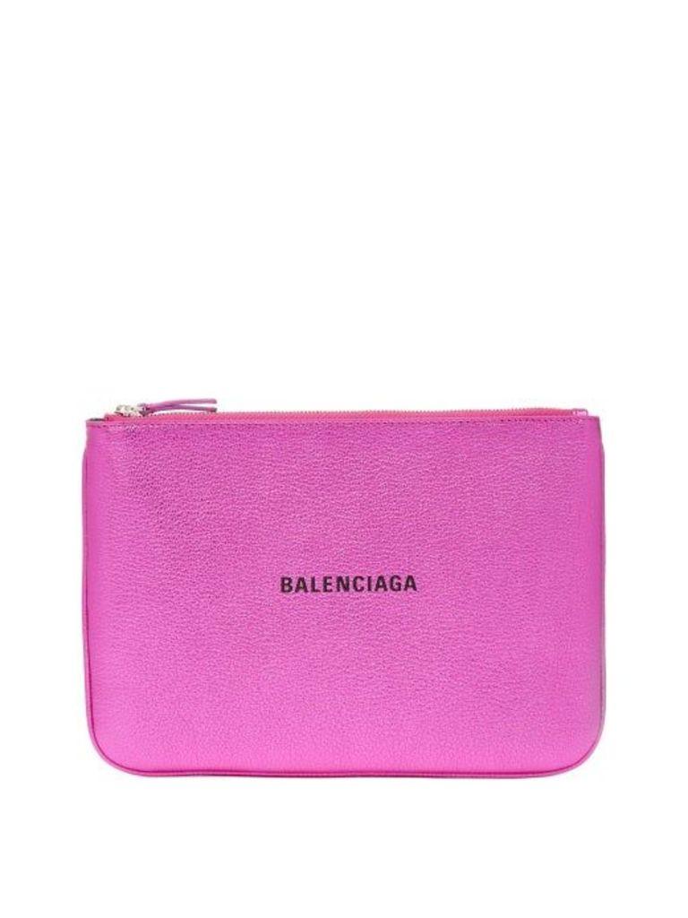 Balenciaga - Metallic Leather Logo Pouch - Womens - Pink