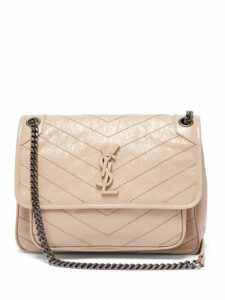 Saint Laurent - Niki Chevron Quilted Crinkle Effect Leather Bag - Womens - Beige