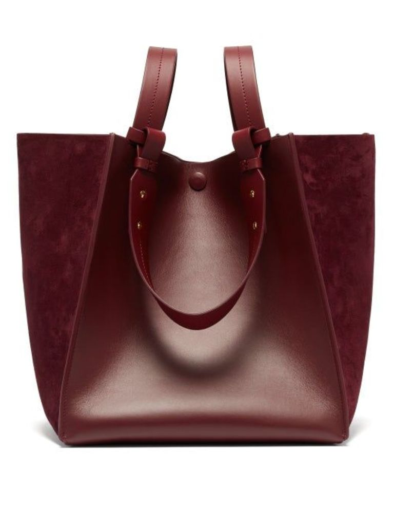 Sophie Hulme - Cube Leather And Suede Tote Bag - Womens - Burgundy