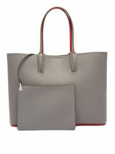 Christian Louboutin - Cabata Spike Embellished Leather Tote - Womens - Light Grey