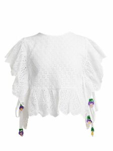 My Beachy Side - Laelia Frill Trimmed Crochet Knit Cotton Top - Womens - White