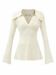 Asceno - Deep V Neck Linen Top - Womens - Khaki