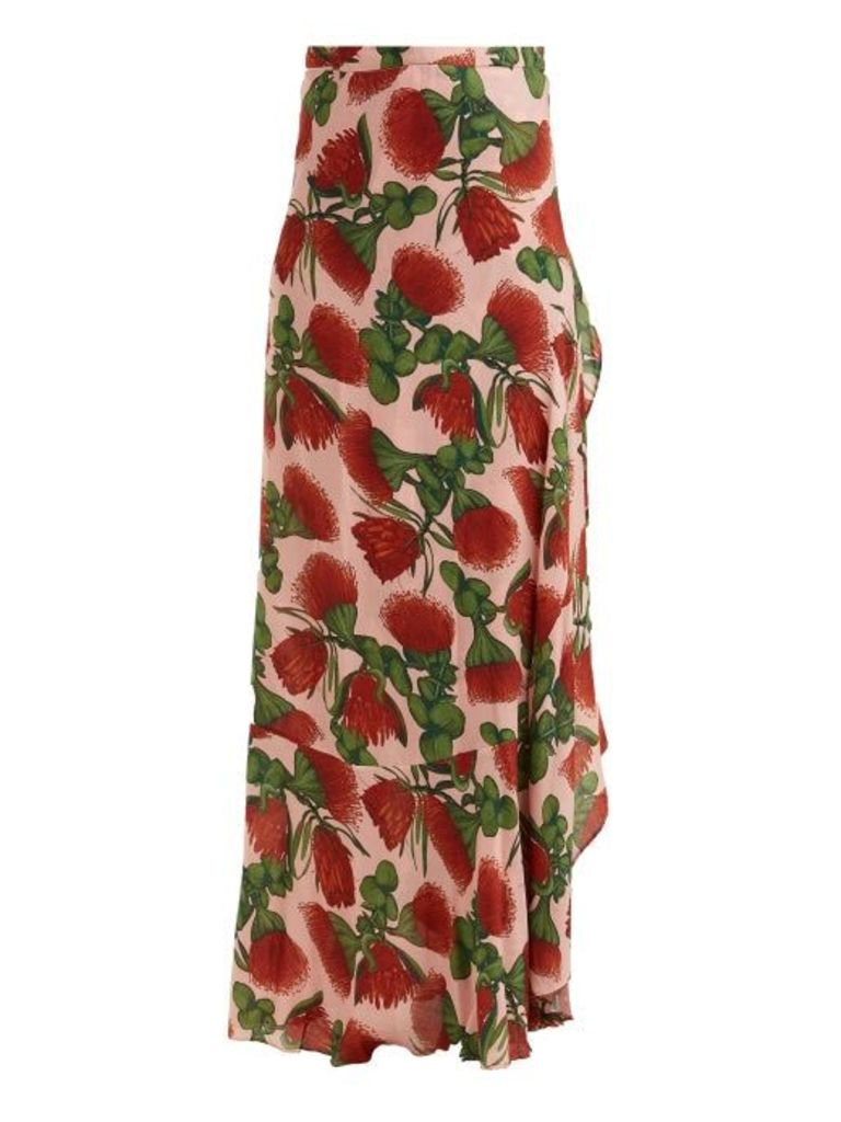 Adriana Degreas - Fiore Pareo Floral Printed Wrap Skirt - Womens - Pink Print