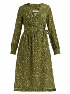 Adriana Degreas - Mille Punti Polka Dot Silk Crepe Wrap Dress - Womens - Green White