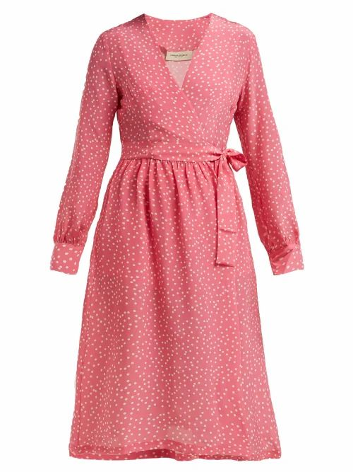 Adriana Degreas - Mille Punti Polka Dot Print Silk Crepe Wrap Dress - Womens - Pink White