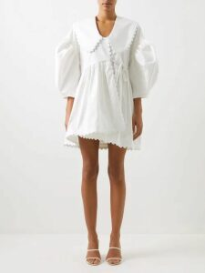 Adriana Degreas - Mille Punti Polka Dot Print Silk Crepe Wrap Dress - Womens - Pink White