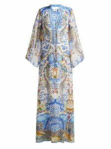 Camilla - Geisha Gateways Print Silk Maxi Dress - Womens - Blue White