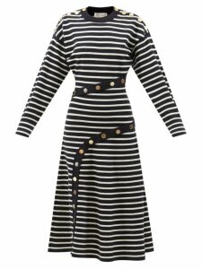 Adriana Degreas - Silk Crepe De Chine Fig Print Dress - Womens - Purple Print