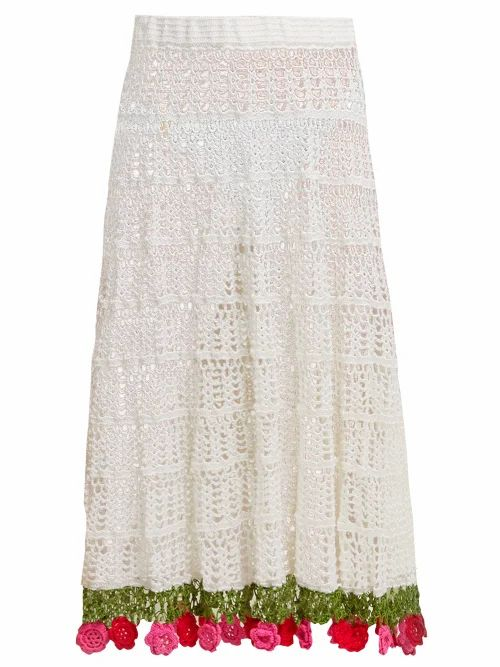 My Beachy Side - Carmen Crocheted Cotton Midi Skirt - Womens - White Multi