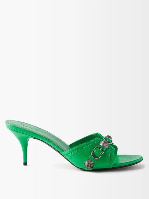 Adriana Degreas - Mille Puncti Polka Dot Silk Skirt - Womens - Green White