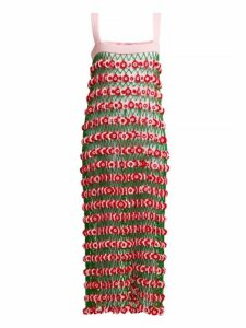 My Beachy Side - Flower Power Crochet Knit Midi Dress - Womens - Pink Multi