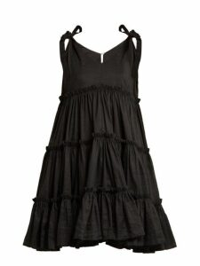 Innika Choo - Tiered Ruffle Ramie Mini Dress - Womens - Black