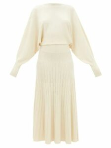 Asceno - Panelled Linen Midi Dress - Womens - Khaki