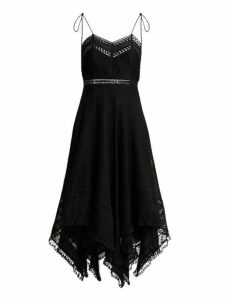 Zimmermann - Juno Cotton And Lace Scarf Dress - Womens - Black