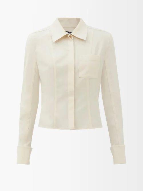 Asceno - Polka Dot Silk Crepe Tiered Midi Dress - Womens - Khaki Print