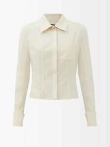 Asceno - Polka Dot Silk Crepe Tiered Midi Dress - Womens - Khaki Print