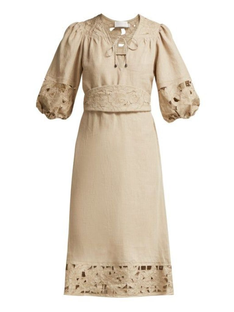 Zimmermann - Juno Belted Guipure Lace Linen Dress - Womens - Beige